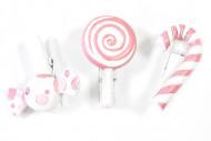 6 Pinces à linge Bonbons roses 3,5 x 2 cm