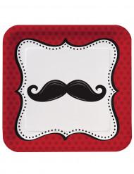 8 Assiettes carrées en carton Moustaches 23 cm
