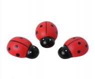 6 Coccinelles en bois 3 cm