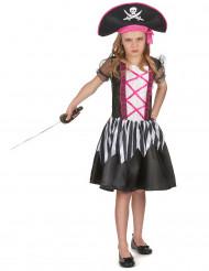 Déguisement pirate rose et noir fille