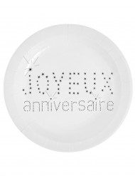 10 Assiettes blanches en carton Anniversaire Chic 23 cm