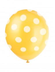 6 Ballons en latex jaune à pois blanc 30 cm
