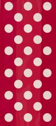 20 Pochettes cadeaux en plastique rouges à pois blancs 29 x 13 cm