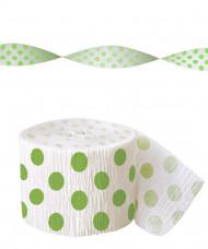 Guirlande papier crépon blanche à pois vert
