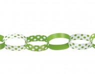 Guirlande de chaîne en papier crépon verte et banche