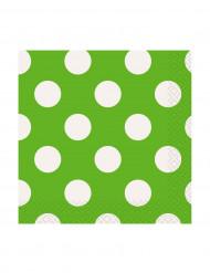 16 Petites Serviettes en papier Vertes à pois blancs 25,5 x 25,5 cm
