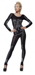 Déguisement imprimé squelette femme Halloween