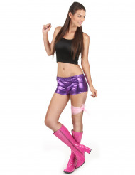 Shorty disco violet brillant femme