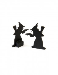 2 Décorations en bois sorcières noires 6 x 3,5 cm