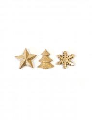 12 Décorations de table Noël dorées 2,5 cm