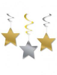 3 Décorations à suspendre étoiles dorées et argentées 60 cm