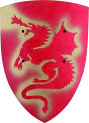 Bouclier dragon rouge en bois pour enfant
