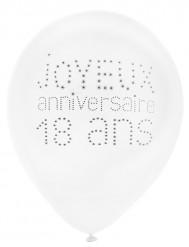 8 Ballons en latex 18 ans anniversaire chic 23 cm