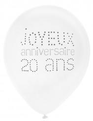 8 Ballons en latex 20 ans anniversaire chic 23 cm