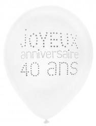 8 Ballons en latex 40 ans anniversaire chic 23 cm