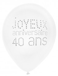8 Ballons 40 ans Anniversaire chic