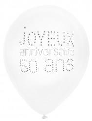 8 Ballons en latex 50 ans anniversaire chic 23 cm