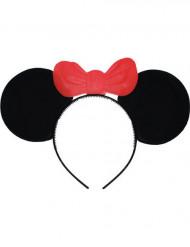 Serre-tête oreilles de souris avec noeud rouge