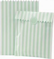 10 Sachets rayés en papier menthe et blancs