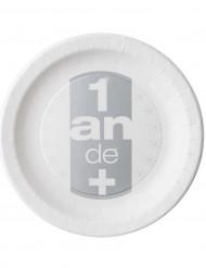 10 Assiettes en carton anniversaire 1 an de + 23 cm