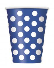 6 Gobelets en carton bleus à pois blancs 355 ml