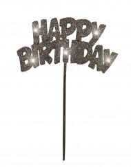 Décoration pour gâteaux noire lumineuse Happy Birthday
