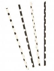 10 Pailles en carton blanches et noires à pois 21 cm
