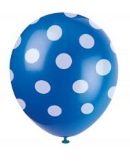 6 Ballons en latex bleus à pois blancs 30 cm