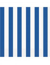 16 Serviettes en papier Rayées bleues et blanches 33 x 33 cm