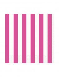 16 Petites Serviettes en papier Rayées roses et blanches 25 x 25 cm