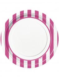 8 Assiettes blanches à rayures roses en carton 23 cm