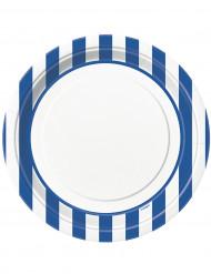 8 Assiettes blanches à rayures bleues en carton 22 cm