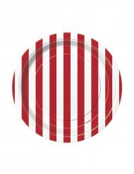 8 Petites assiettes à rayures rouges et blanches en carton 17 cm