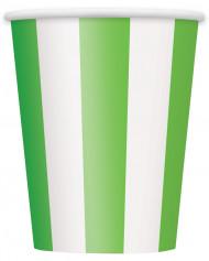 6 Gobelets rayés verts et blancs
