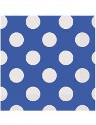 16 Serviettes en papier Bleu à pois blancs 33 x 33 cm