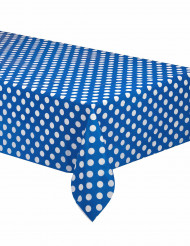 Nappe bleue à pois blancs en plastique 137 x 274 cm