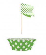 24 Moules à cupcakes et 24 pics de décoration à pois verts