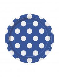 8 Petites assiettes bleu marine à pois blancs en carton 17 cm