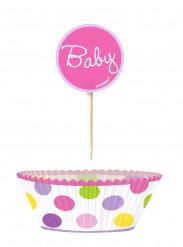 24 Moules à cupcakes et pics de décoration baby fille