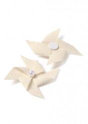 4 Mini moulin lin uni adhésifs