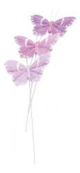 3 Papillons lilas sur tige