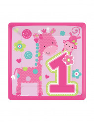 8 Petites assiettes en carton 1an fille 18 cm
