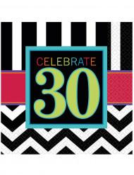 16 Serviettes en papier Celebrate 30 ans 33 x 33 cm