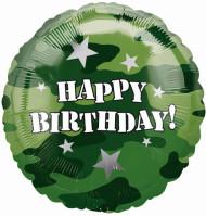 Ballon aluminium Happy Birthday Camouflage 43 cm