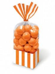 10 Sachets à friandises rayés orange