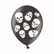 6 Ballons têtes de mort noirs 28 cm