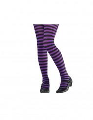 Collants rayés violet et noir enfant