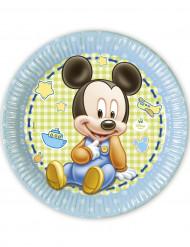 8 Assiettes en carton Bébé Mickey™ 23 cm