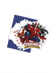 6 Cartes d'invitation avec enveloppes Spiderman Web-Warriors™