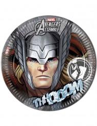 8 Assiettes grises en carton Avengers™ 23 cm